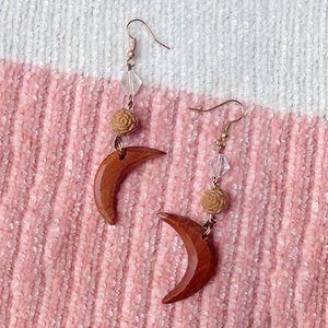 Handmade Crescent Moon Dangle Earrings